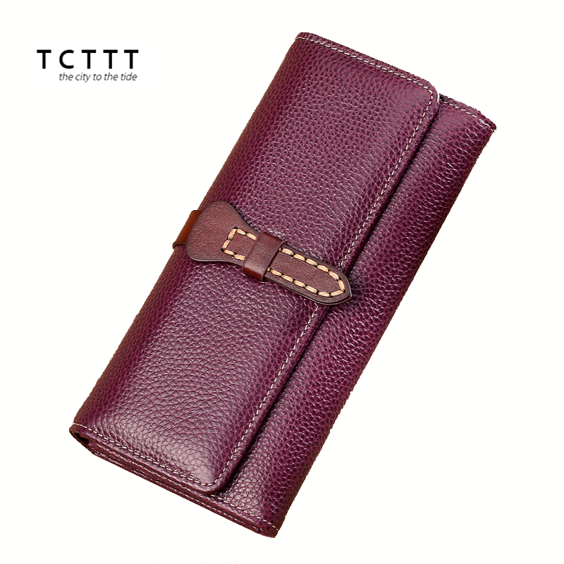 TCTTT High Quality Genuine leather Wallet Long women wallets and purse Fashion Coin ladies Clutch Cash Pocket Female Card Holder new high quality fashion brand leather women wallets long thin ladies coin purse cards holder clutch bag magic wallet female