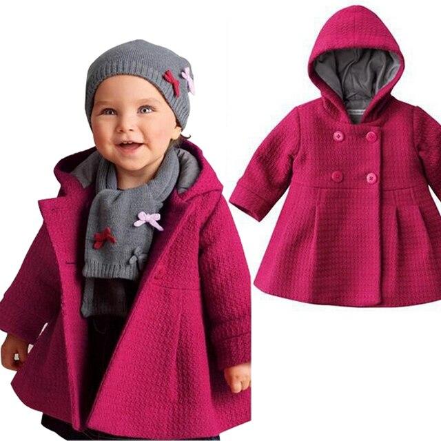 2016 Новый девочка с капюшоном пальто Девушки чистый розовый теплая зима верхняя одежда Мода траншеи весна одежда для детей retail, C345