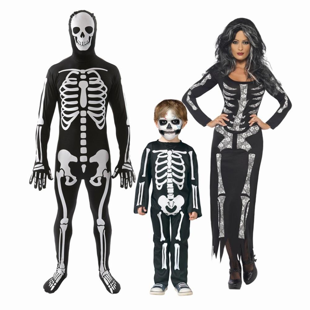 Plus Size Adult&Kids Skull Skeleton Costume Skull Ghost Children Cosplay men Skull Skeleton Demon Ghost Costumes For Halloween