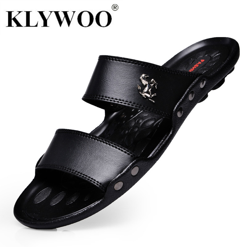 Hot New Summer Fashion Shoes Men Flats Sandals Slides Beach Flip Flops Brand Men's Sandals Casual Slippers Shoes For Men Black