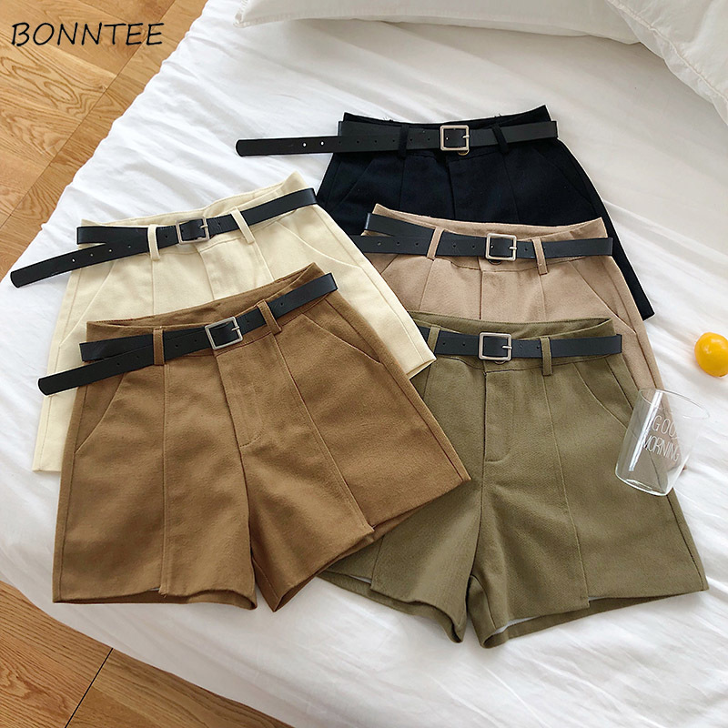 Shorts Women Casual Trendy Summer Korean Solid Literary Flare Womens Pockets High Sashes Elegant Ladies Simple Loose Zipper Chic