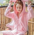 Sweet girl inverno 2017 mulheres rosa do amor bonito coelho peludo ouvidos sleepwear coral fleece conjunto de pijama homewear quente fofo noite terno