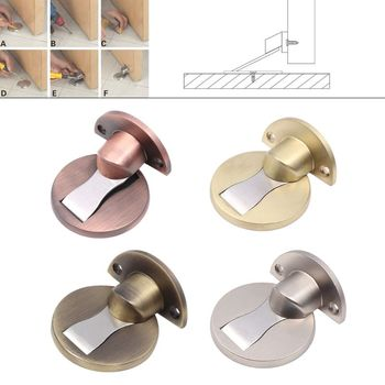 Zinc Alloy Door Absorbing Toilet Floor Suction Collision Anti-Collision Door Stop New Invisible Strong Magnetic Door Stopper