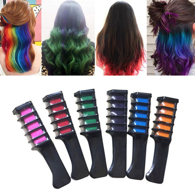 6 Pcsset Temporary Hair Chalk Color Comb Dye Kits Disposable