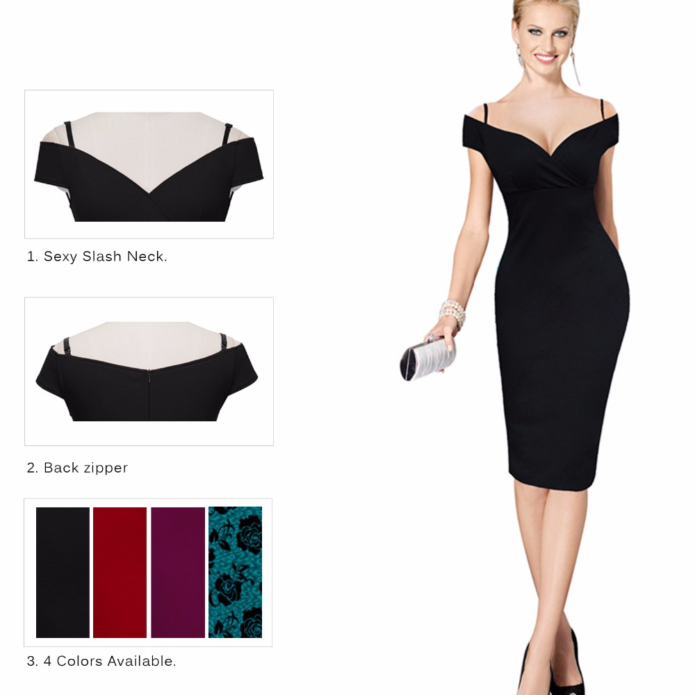 Nice forever Elegant Casual Work Pencil Dress - B309