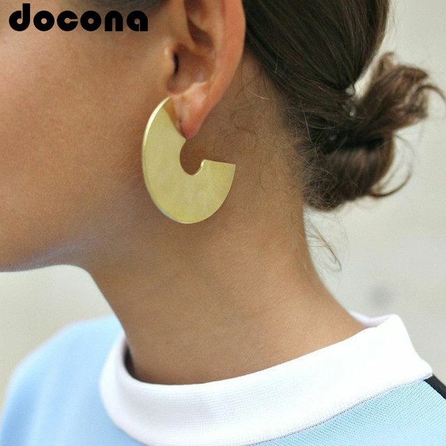 docona Gold Silver Color Semicircle Drop Earring for Women Girl Alloy Geometric