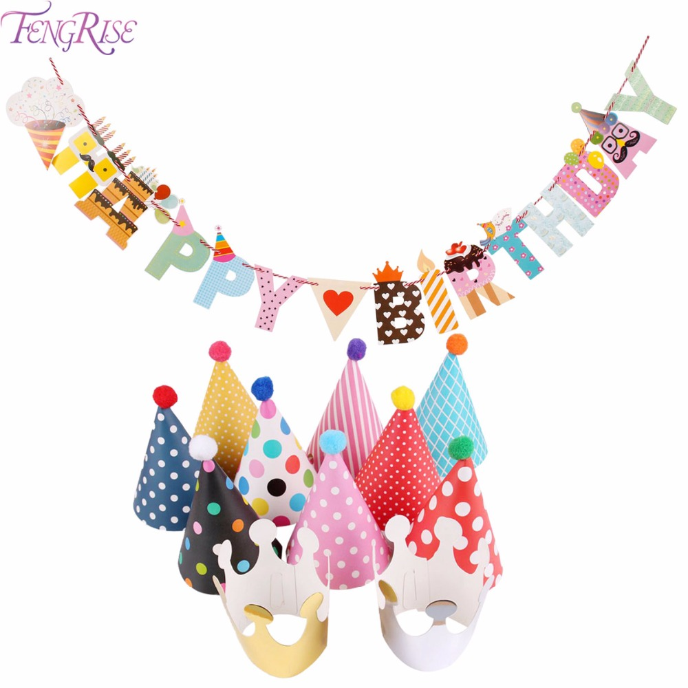 FENGRISE Birthday Decoration Happy Birthday Banner Baby Shower Party Flags Hats Garland Banner Bunting Event Party Supplies