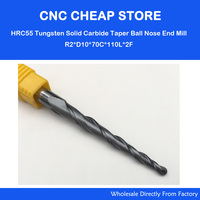 1pc R2 0 D10 70 110L 2F HRC55 Tungsten Solid Carbide Tapered Ball Nose End Mills