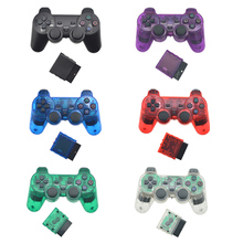 For Sony PS2 Bluetooth Wireless Controller Transparent Clear Gamepad For Sony Playstation 2 Joystick 2.4G Vibration Controle