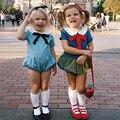 Ins 2017 nuevo verano muchachas del niño monos arcos azul infantil kids clothing guardapolvos del mono lindo de la princesa del niño