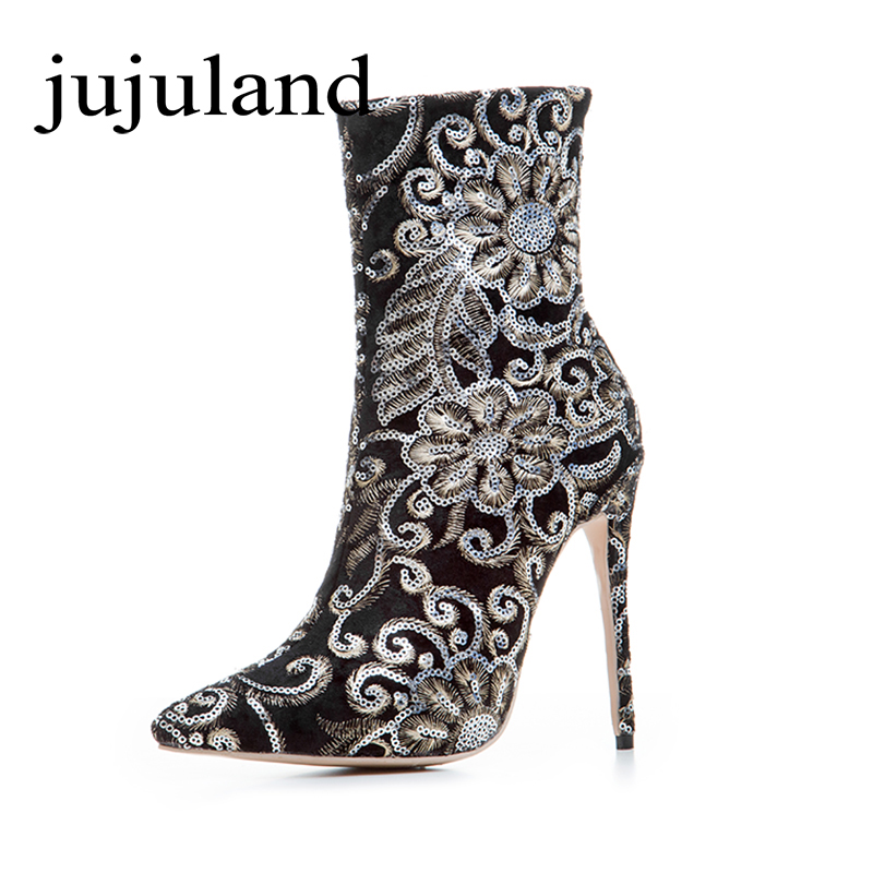 Spring/Autumn Women Shoes Ankle Boots Flock Bling High Thin Heels Fashion Sexy Pointed Toe Zip Zipper Big Size Embroidery Flower