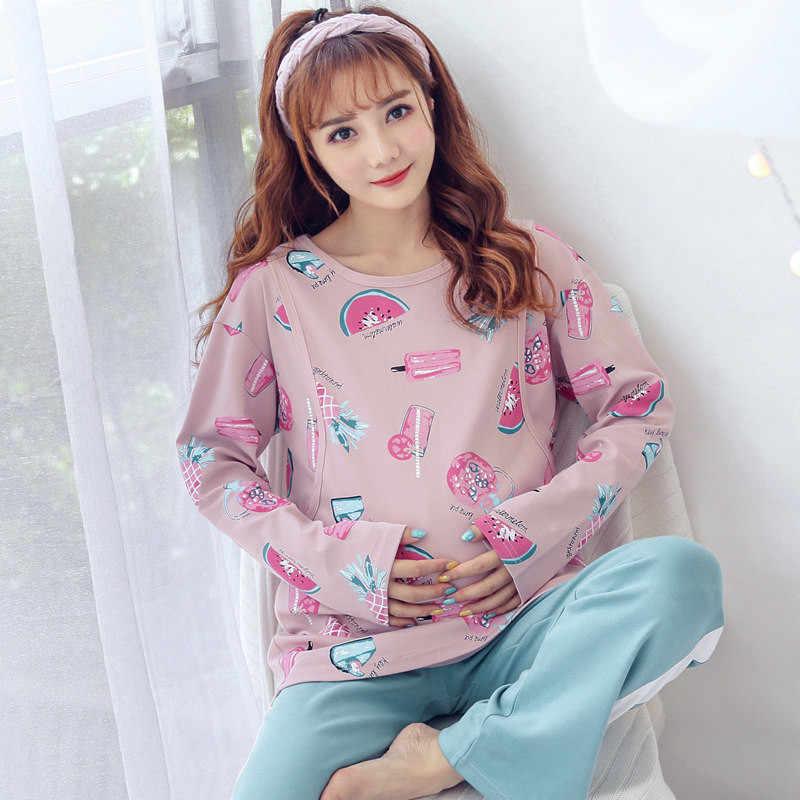 Cotton Pregnant Woman Pajamas Maternal Confinement Postpartum Go Out Nurse  Clothes Home Furnishing wear long Sleeve de4b2e2d2