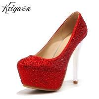 Kriywen Women Wedding Shoes Platform Bridal Woman Pumps Extreme High Heel Femmes Club 4 Colors Stilettos