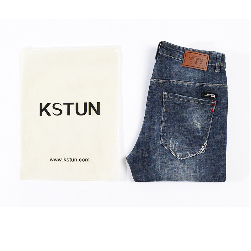 KSTUN Mens Biker Jeans Ripped Summer Slim Fit Straight Elasticity Blue Street Wear Male Trousers Long Jeans Men Motocycle roupas 13