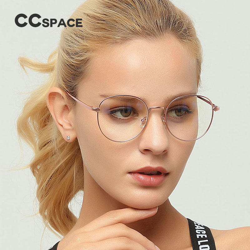 1b246b245c89 CCSPACE Metal Oval Ladies Glasses Frames For Women Arrow Round Brand  Designer Optical EyeGlasses Fashion Eyewear 45152-in Eyewear Frames from  Apparel ...