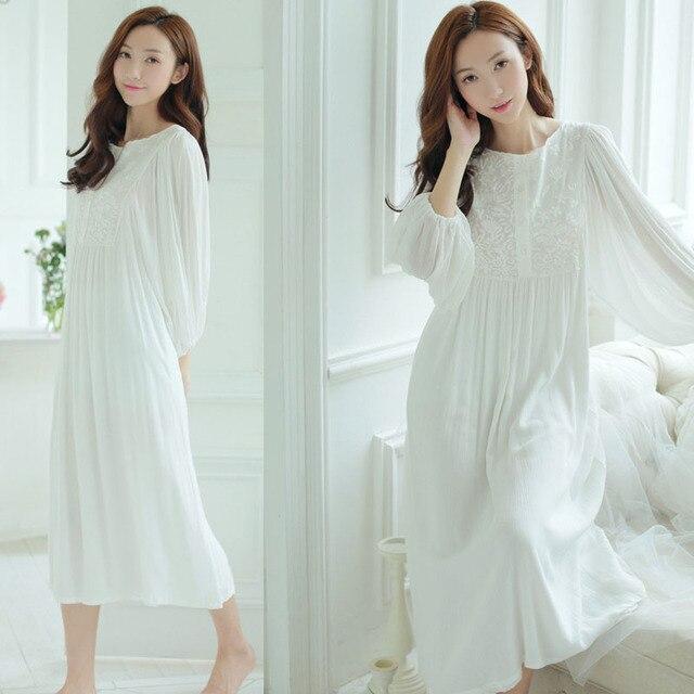 2016 Nova Outono Inverno Princesa Camisola das Mulheres de mangas Compridas Camisola de Renda Sleepwear Modal Camisola das senhoras Pijamas