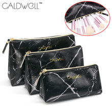 Women Makeup Cosmetic Bag PU Leather Marble Pattern Square Storage Zipper Pouch -OPK