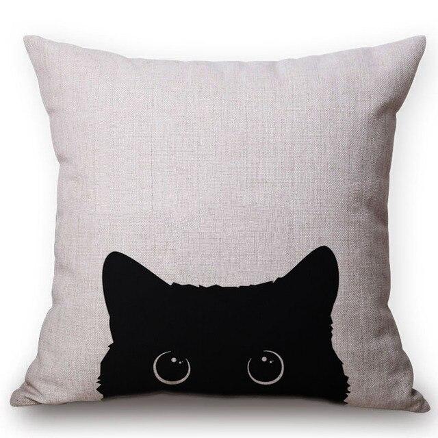 Bello sveglio del Gatto Nero Cuscino Cotone Lino Piazza Cuscini di Tiro 45x45 CM