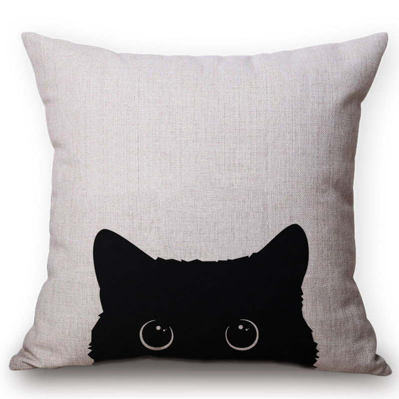 Cute Lovely Black Cat Cushion Cover Cotton Linen Square Throw Pillows 45x45CM Home Office Deco Car Sofa Pillow Case almofadas