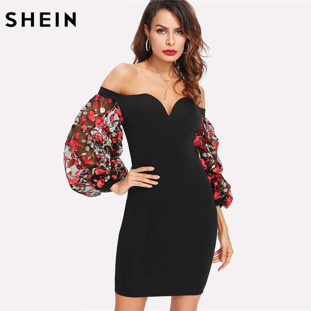 6891171308 SHEIN Black Bodycon Dress Off the Shoulder Bishop Sleeve Contrast  Embroidery Mesh Sleeve Sweetheart Neck Party Dress