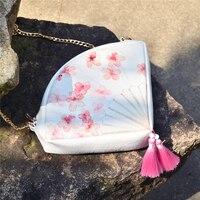 Fan shape handbag cute girls tassel clutch bag pink Peach blossom print PU leather fan shoulder messenger bag party cosplay bag