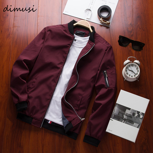 DIMUSI Spring New Men's Bomber Zipper Jacket   1