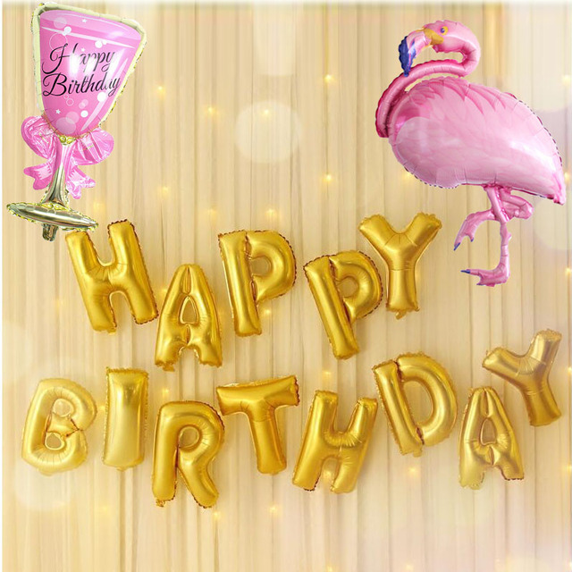 KAMMIZAD Happy Birthday Balloons 15 Teile Los Rosa Flamingo Wein Glas Aluminiumfolie Geburtstag Party Dekoration