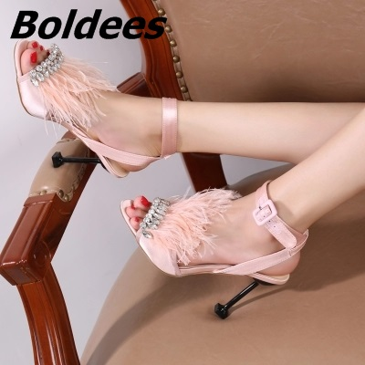Trendy Designer One Line Buckle Style Crystal High Heel Sandal Shoes Woman Fur Stilettos High Heels Crystal Wedding Sandals - 3