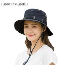 Summer Spring Fashion Cotton Bucket Hats Men Women Breathable Big Wide Brim Fisherman Cap Outdoor Wild Panama Sun Hat