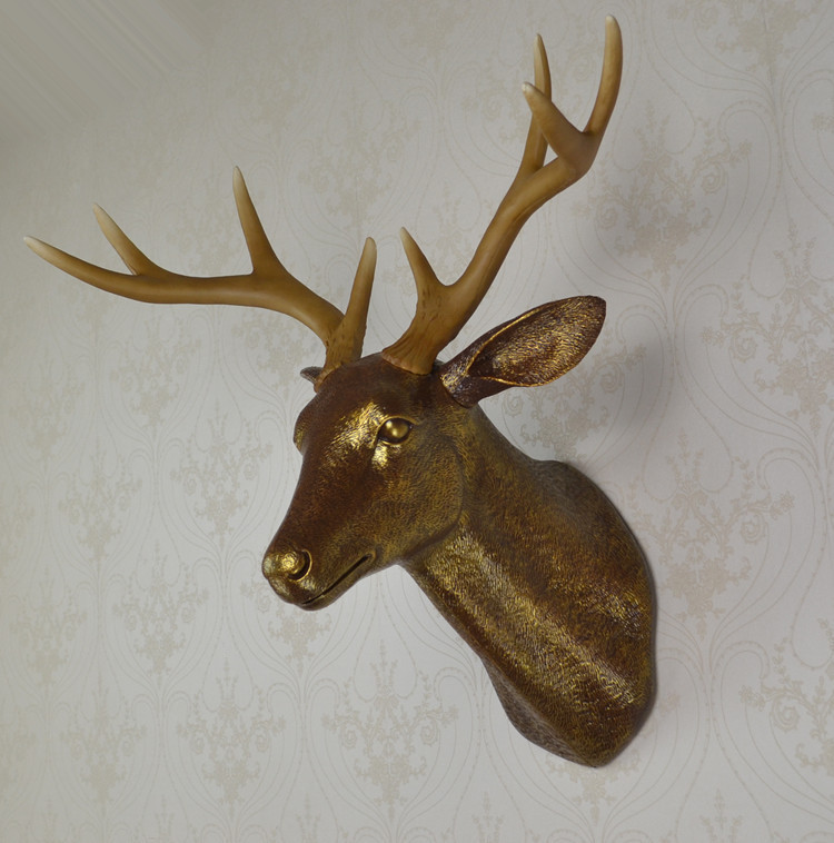 Wall Mounted Gold Dark Buck Bust Whitetail Deer Head Trophy Wall Art Plaque Sculpture Faux