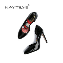 Women's Pumps 2017 Classic Round Toe Spring/Autumn woman shoes PU Leather 36-41 Free shipping NAYTILYE