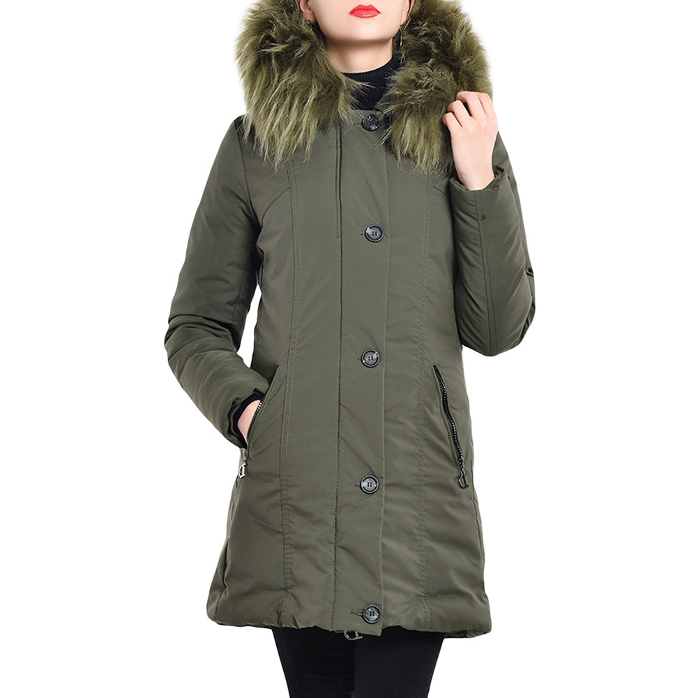 New Winter women warm Coat Fashion   parkas   Woman Cotton Jacket Large fur collar hooded Coat long Zipper coat Jacket army green