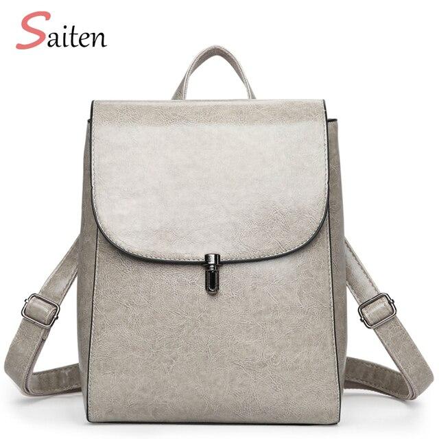 755c85591 Fashion Woman Backpack 2017 Leather Woman Back Pack Brands Female Backpacks  High Quality Schoolbag Elegant Mochila
