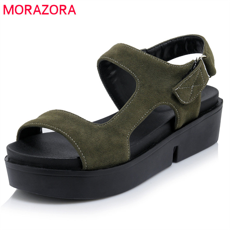 MORAZORA 2018 new arrive women sandals top quality flock summer shoes punk simple buckle comfortable flat platform shoes woman phyanic 2017 gladiator sandals gold silver shoes woman summer platform wedges glitters creepers casual women shoes phy3323