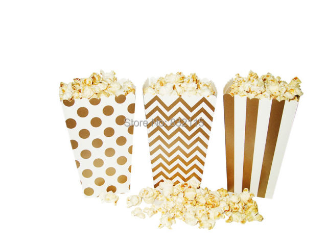 Gold Metallic Candy Box In Stripes Dots Chevron Rugby Favor Bags