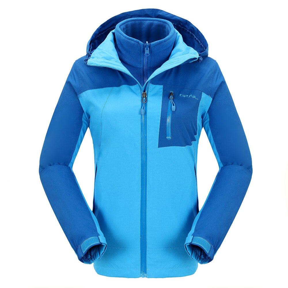 GRAIL chaud randonnée Sport veste femmes imperméable hiver veste de femmes 2 en 1 détachable polarpolaire intérieur veste Quick Dry2084A