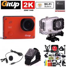 Gitup Git2 Ultra HD 2K Action Camera Video Cam Sport Go Waterproof Pro Camera+Wrist Remote Control+Microphone+38pcs Accessories