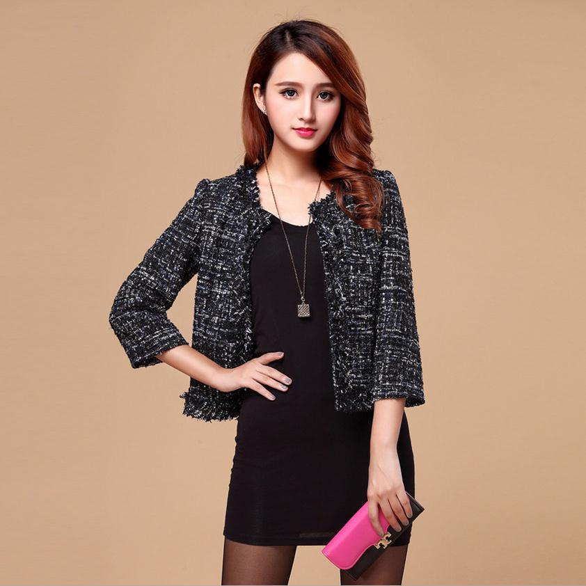 Popular Black Tweed Blazer for Women-Buy Cheap Black Tweed Blazer ...