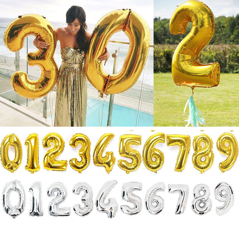 40 inch Gold Silver Number Foil Balloons Digit Helium Balloon wedding Birthday b