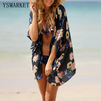 2017 Summer Womens Cover Ups Beach Tunic Bathing Suit Floral Print Chiffon Kimono Sexy Loose Hawaiian