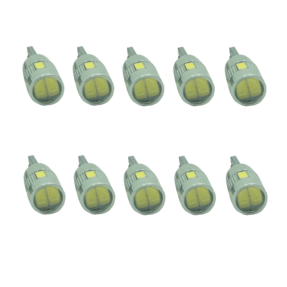 10PCS T10 501 WY5W W5W 6 LED 5630 SMD CANBUS ERROR FREE Pure White Car Auto Side Wedge Parking Lights Lamp Bulb DC 12V t10 3w 144lm 6 x smd 5630 led error free canbus white light car lamp dc 12v 2 pcs