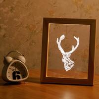Struttura in legno 3D Animal Deer Head Forma Luce di Notte del USB Power Festival Lampada partito di Festa Di Natale Decorazioni Per La Casa Illuminazione Della Novità