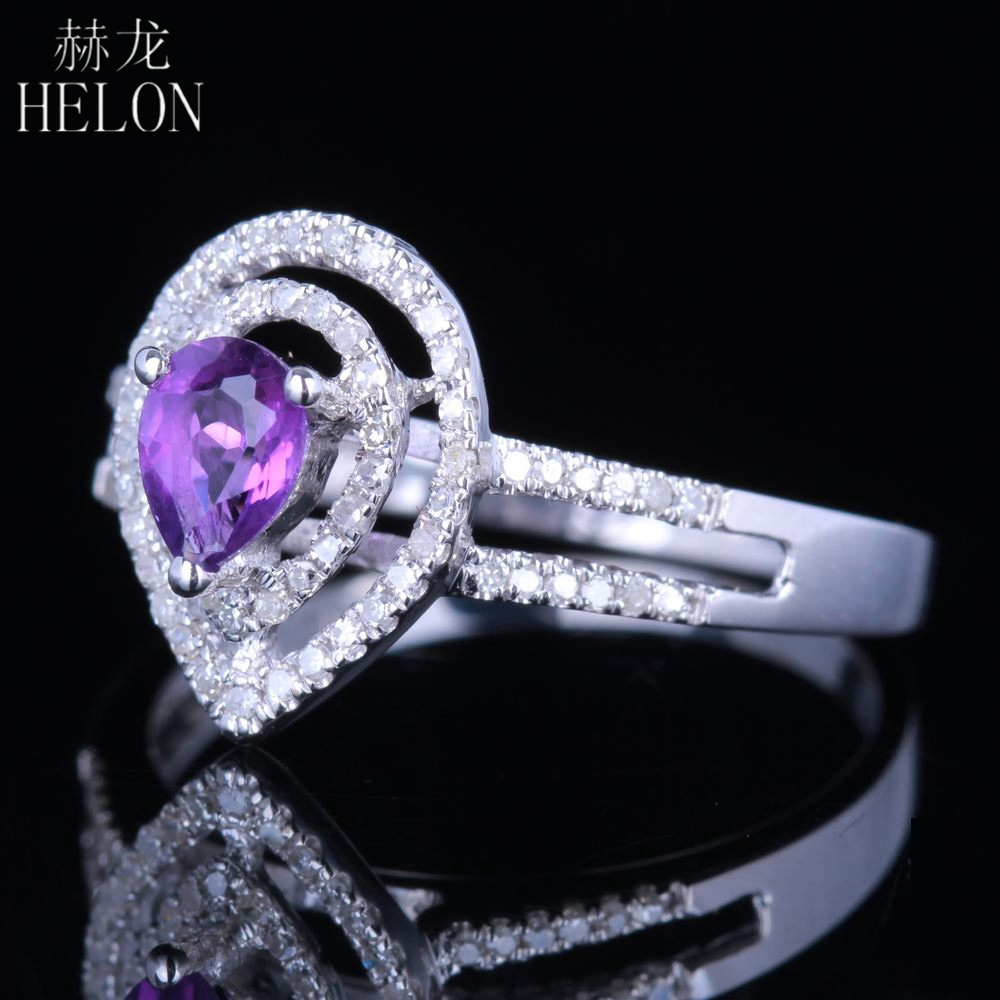 HELON Pear Cut 5x4mm Genuine Amethyst Gemstone Ring Sterling Silver 925 Real Natural Diamonds Engagement Wedding Jewelry Ring real carbon fiber unpainted frp car front body air side fins diffuser for subaru brz toyota gt86 ft86 zn6 dosn t fit 2017y car