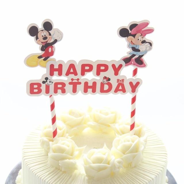 1 Set Mickey Minnie Souris Theme Joyeux Anniversaire Gateau Topper