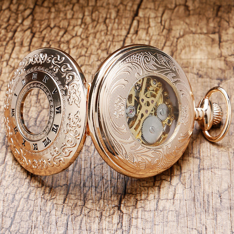 Image 5 - 2020 Vintage Hollow Roman Numbers Skeleton Mechanical Hand Wind Pocket Watch Montre Gousset With Chain Men Women Giftcase 360watch cases and boxeswatch unisex -