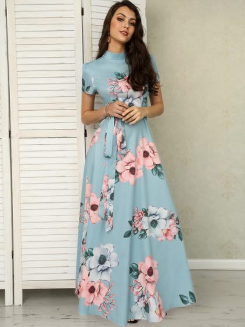 Women Long Maxi Dress 2018 Summer Floral Print Boho Beach Dress Short Sleeve Evening Party Dress Tunic Vestidos Plus Size S-5XL