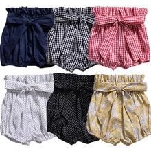1 предмет, Повседневные детские штаны для новорожденных мальчиков и девочек, шорты милые штаны в горошек, в клетку, с цветочным рисунком, трусики-шаровары одежда для малышей