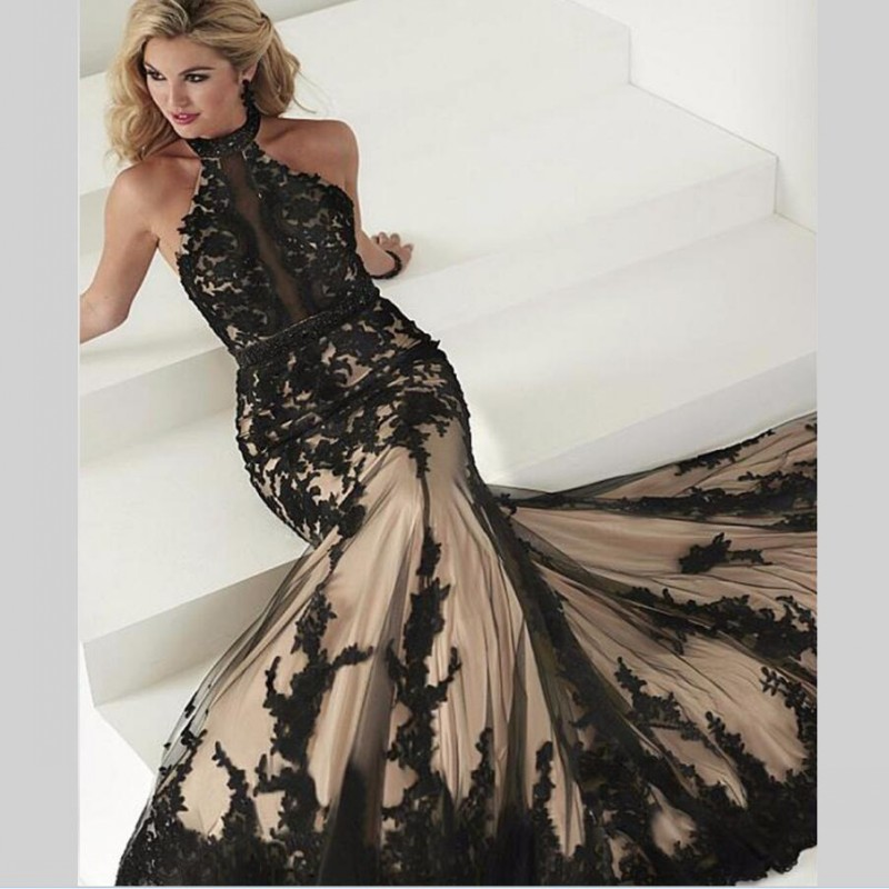 Black Lace Evening Dress