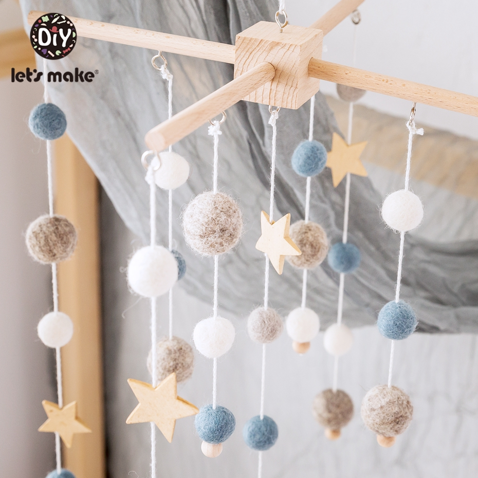 Let'S Make Wooden Teether Kids Room Decoration Crib Mobile Baby Toys Felt Ball Infant Crib Stroller Toy Baby Wooden Rattle