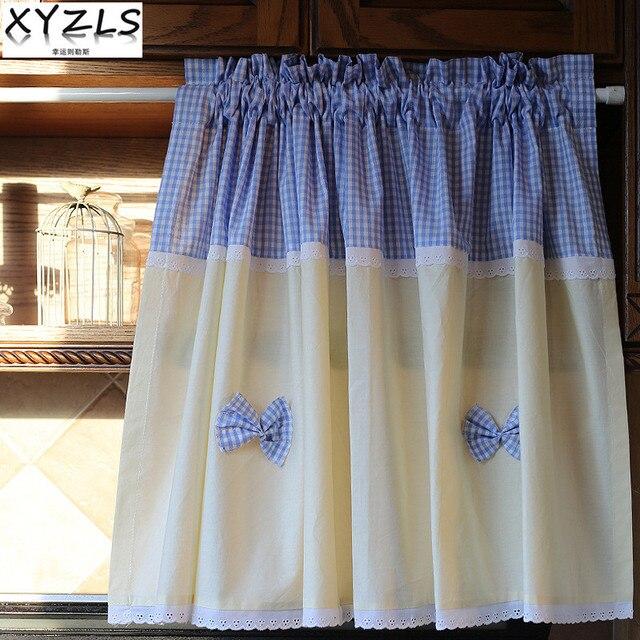 Xyzls New Elegant Blue Plaid Kitchen Curtains Cafe Curtain Short Panel Door Cupboard Screen Window